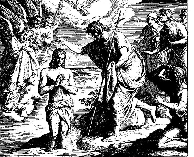 Julius Schnorr von Carolsfeld, Die Taufe Jesu, aus: Die Bibel in Bildern, Leipzig 1860
