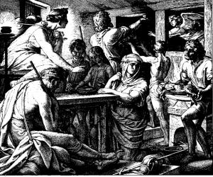 Das Strafgericht Gottes tötet alle Erstgeborenen der Ägypter. An den Häusern der Hebräer geht der Todesengel vorüber, weil sie ihre Türen mit einem Schutzzeichen versehen haben. Foto: Julius Schnorr von Carolsfeld, Die Bibel in Bildern, Leipzig 1860